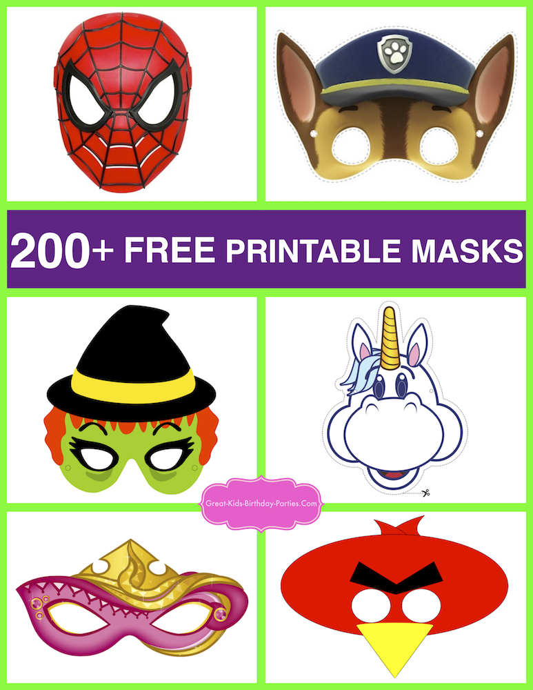 Free Printable Masks. KidsPartyWorks.Com