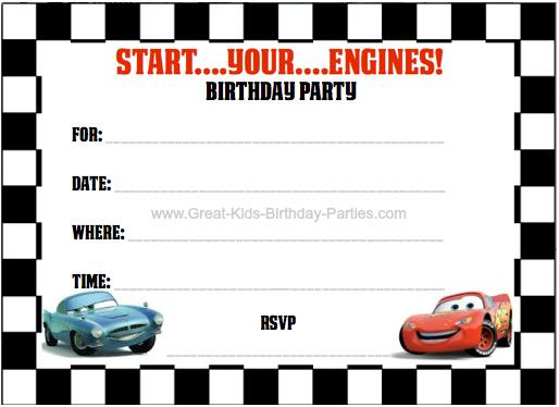 FREE Printable Cars 2 Invitations - 4 per sheet #cars2 invitations