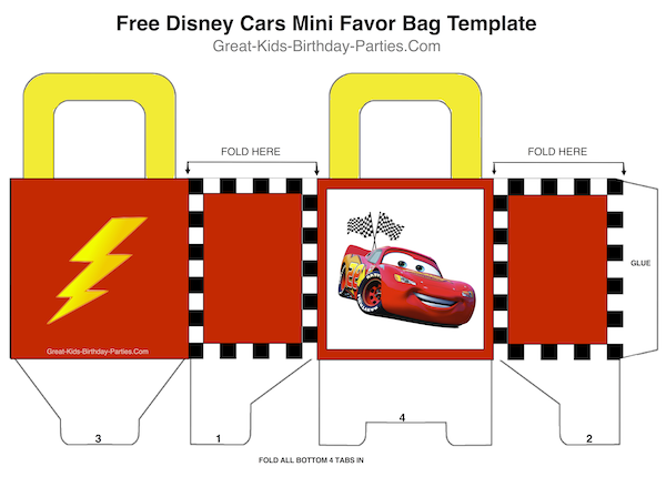 Free Disney Cars Mini Favor Bag Template