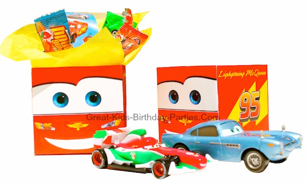 Disney Cars Favor Boxes - FREE printable Lightning McQueen party favor box, perfect for goodies like toy race cars, treats and stickers.  Free Template at Great-Kids-Birthday-Parties.Com