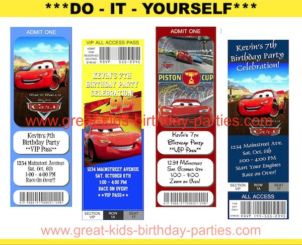 FREE Disney Cars Party Ticket Invitations- Make these free printable invitations in just minutes!