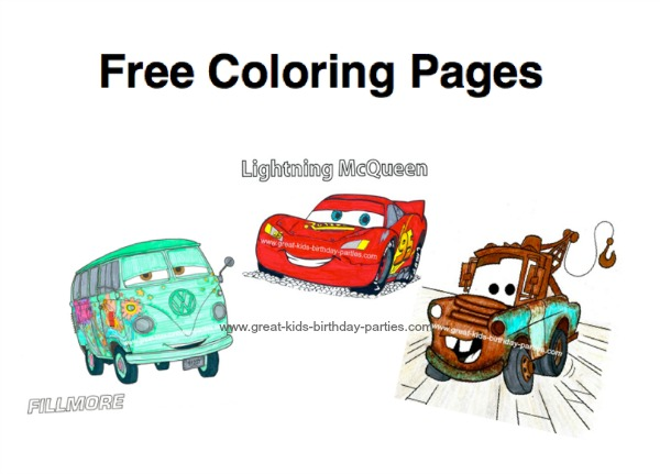List Of FREE Disney Cars Coloring Page Sources