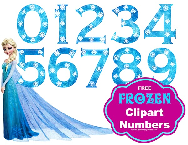 Free Frozen Font Numbers - Large size numbers, great for centerpieces, invitations, cake toppers and lots more.