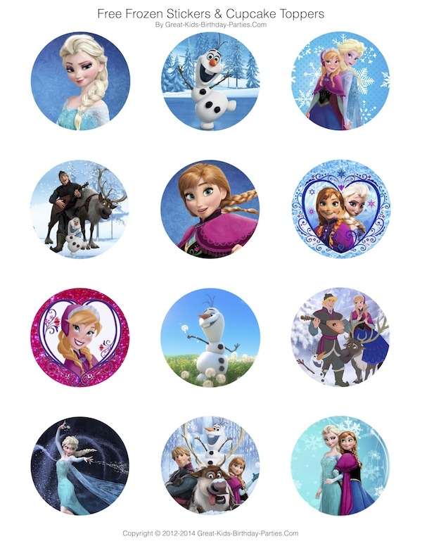 Frozen Party Free Printables - Invitations, Stickers, Cupcake Toppers, Elsa Crown and lots more.