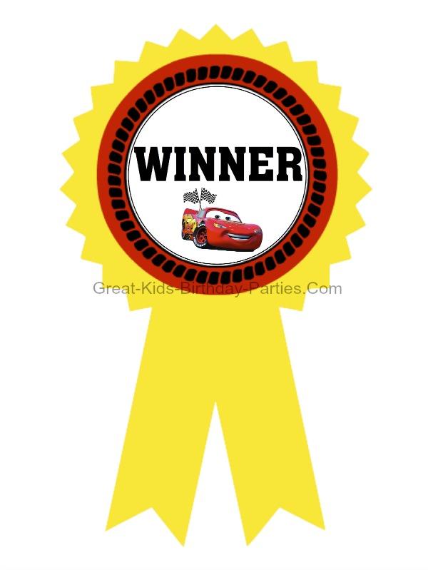 Free Printable Cars Gold Medal Ribbons