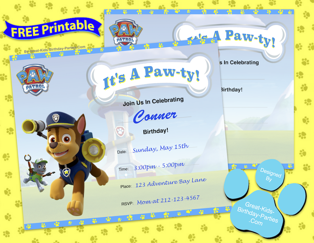 PAW Patrol Skye Invitations