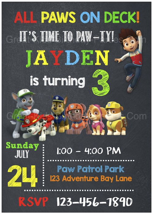 Of The Paw Patrol Invitation Template Above We Do Not Make Or Sell These Invitations Is Free For You To Download