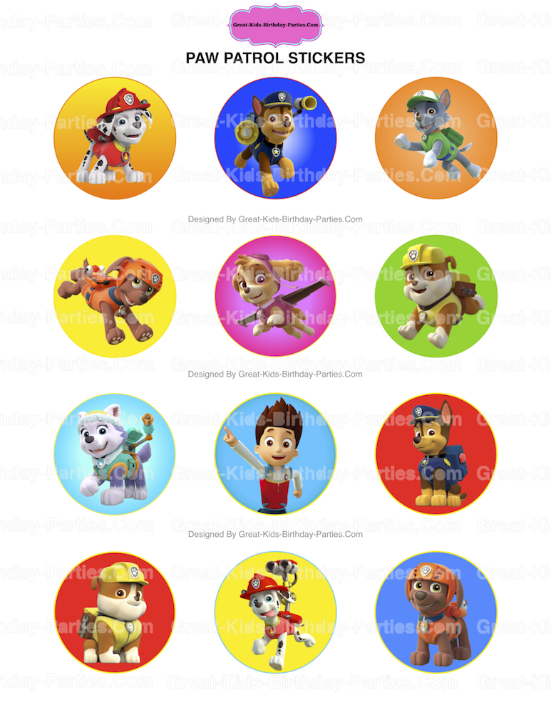 These 2 Inch 5 Cm Paw Patrol Stickers Print Beautifully On Round Sticker Paper AVERY 22807 Which You Can Buy At Your Local Office Supply Store Or Here