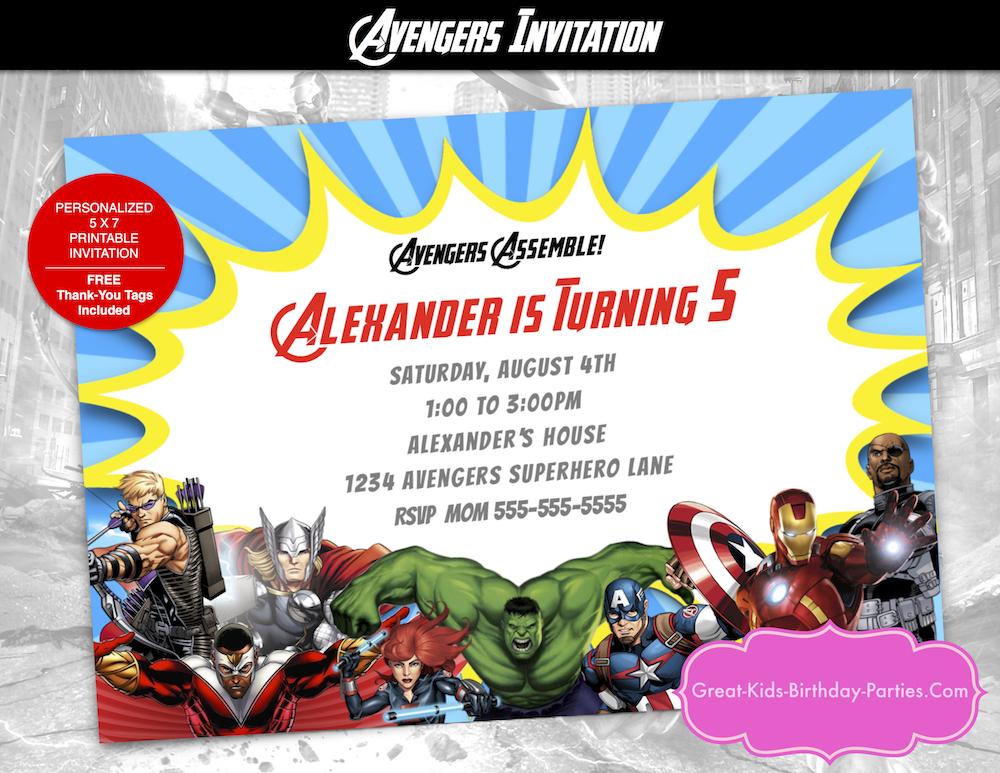 Our Newest Avengers Custom Invitation Has All The Characters Including Captain America Iron Man Thor Hawkeye Falcon And Hulk