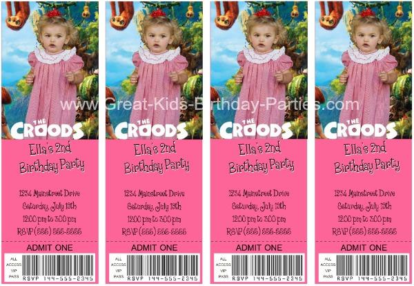 The Croods Free invitations