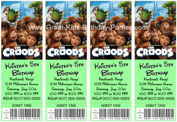 The Croods Invitations