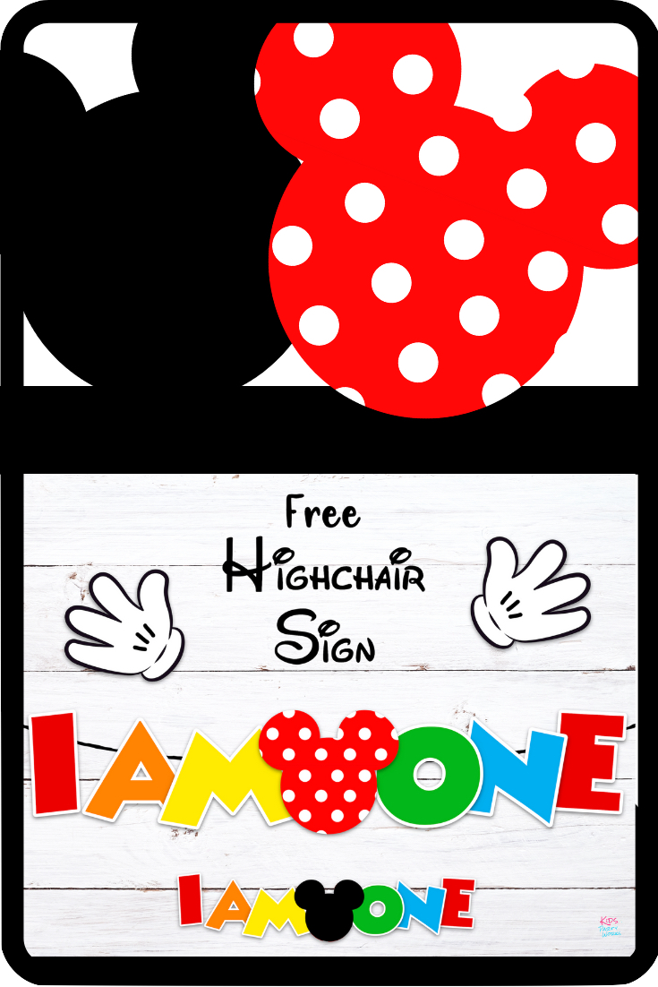 Free Mickey Mouse Birthday Banner Set for highchair 1st birthday.