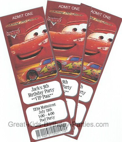 Actual Size Is 1 2 Times Larger 7 X 4 Make Your Own Lightning McQueen Birthday Invitations