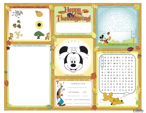 Mickey Thanksgiving printable placemat