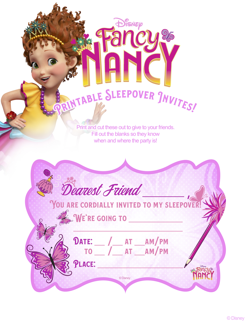Fancy Nancy Sleepover Invites