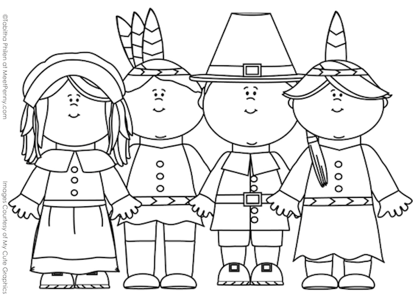 Thanksgiving pilgrims and native Americans coloring page