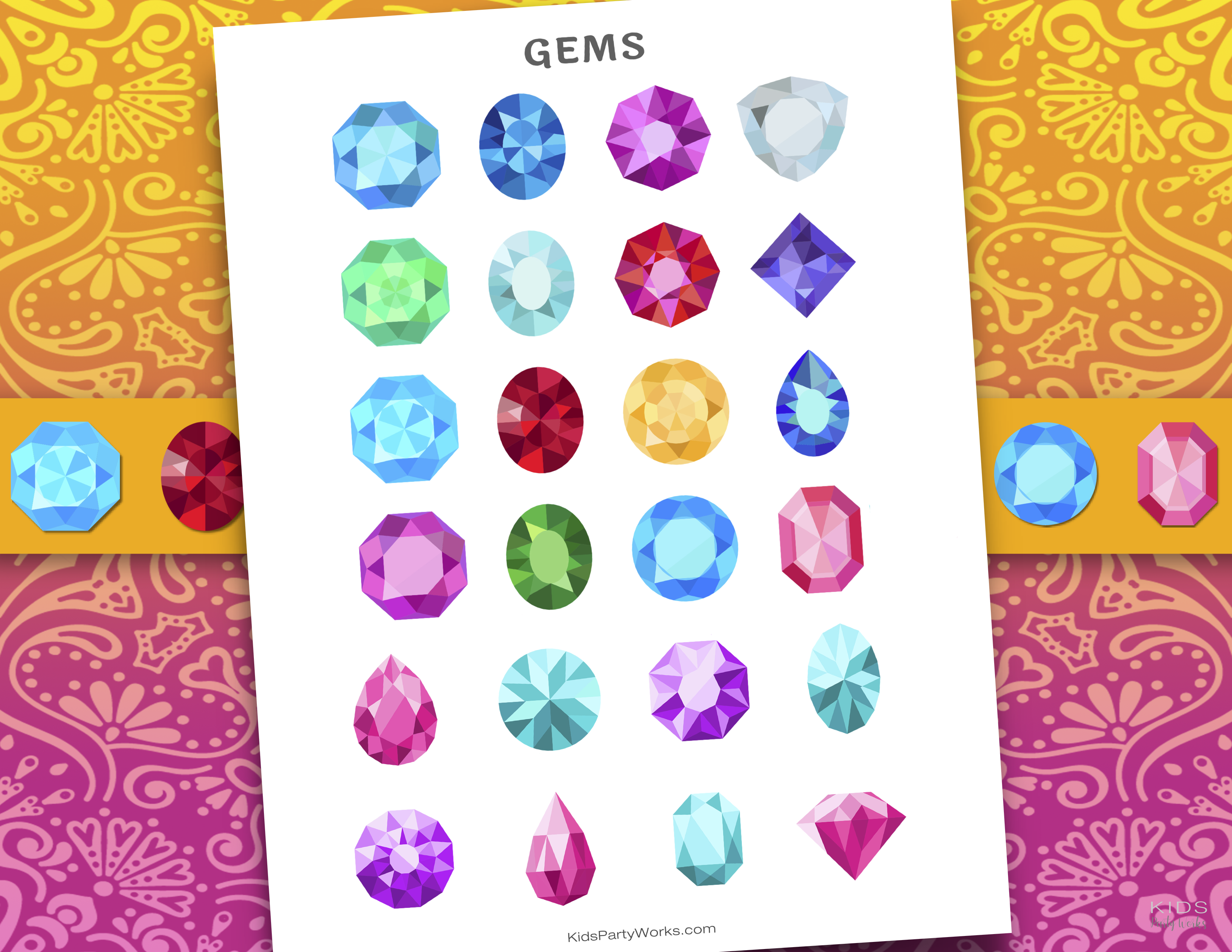 free Mira printable gems and crystals