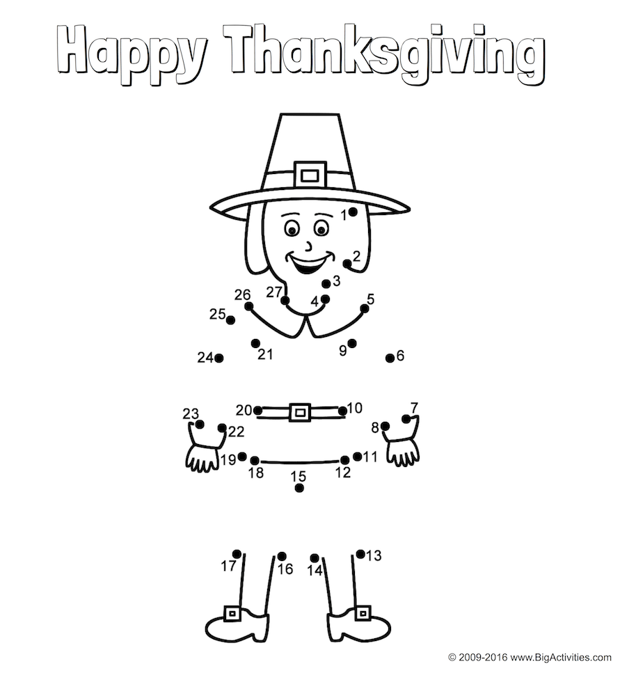 Thanksgiving connect-the-dots coloring page