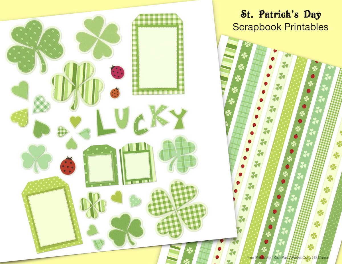 St. Patrick's Day Scrapbook elements and digital paper