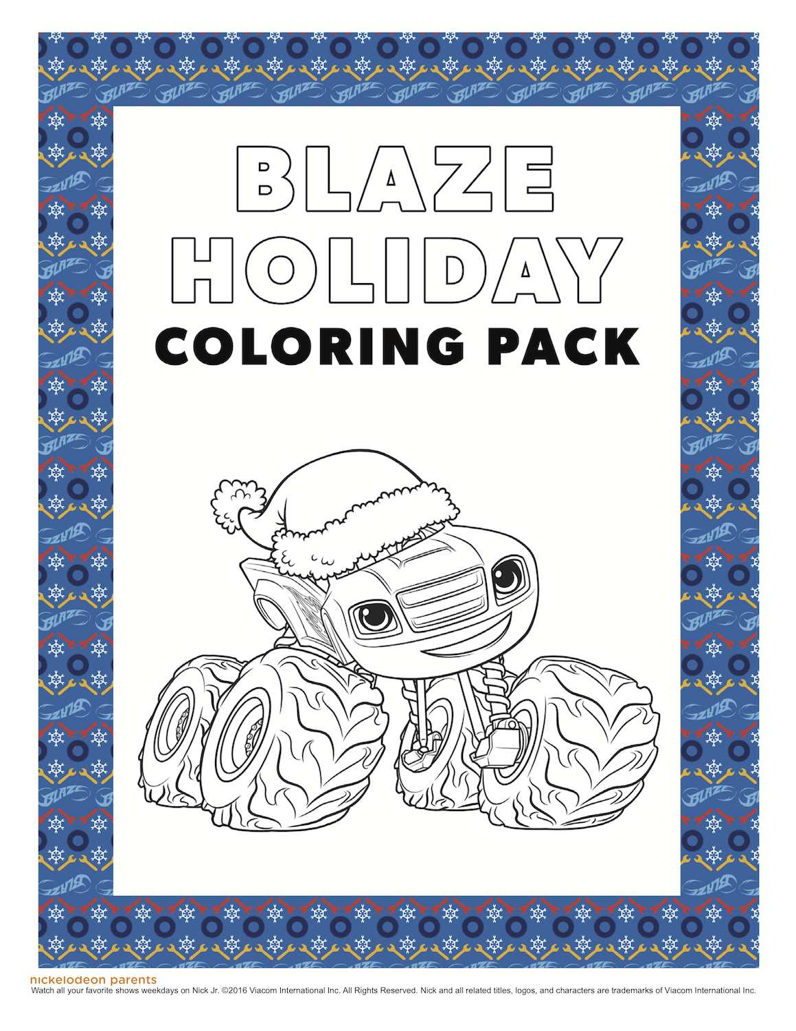 Blaze Holiday Coloring Pack