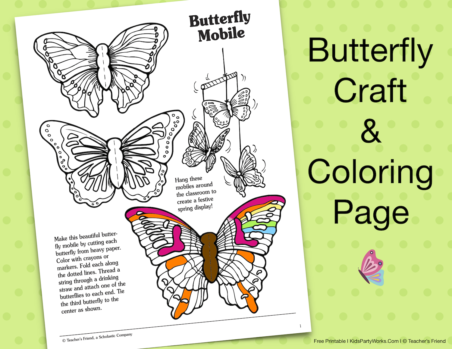 butterfly craft & coloring page