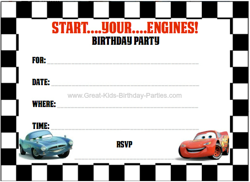 FREE Printable Cars 2 Invitations - 4 per sheet #cars2 invitations