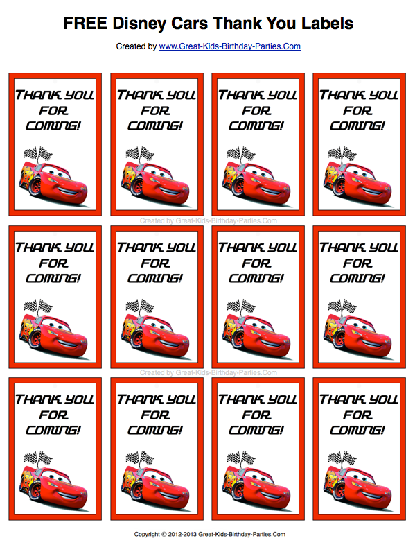 Free Disney Cars Thank You Labels