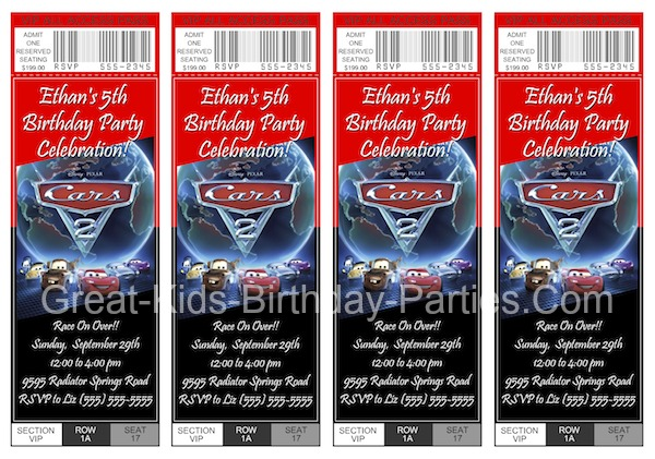Disney Cars Ticket Invitations