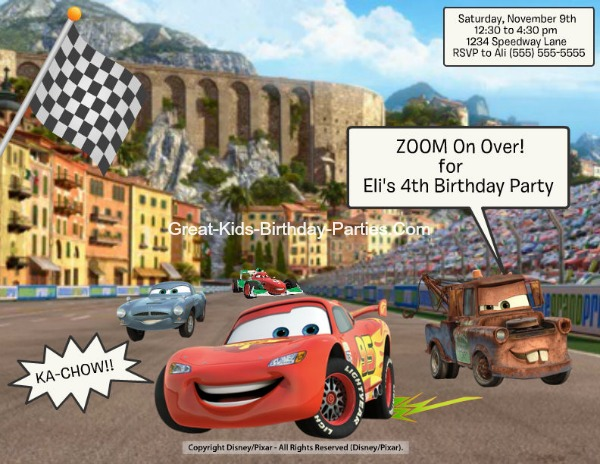 Create Disney Cars Invitations