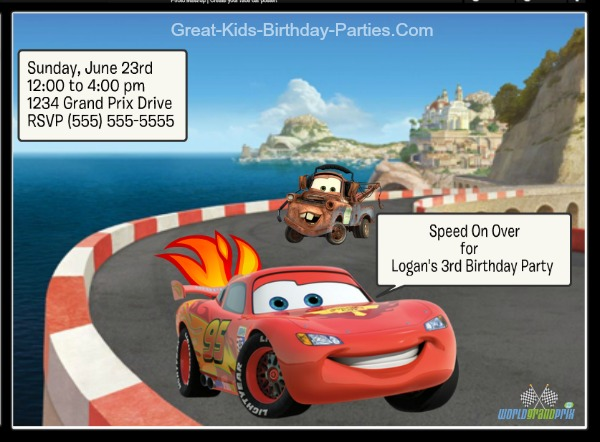 image relating to Disney Cars Birthday Invitations Printable Free called Autos Invites