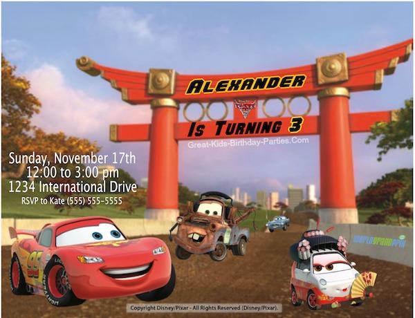 Create Disney Cars Invitations
