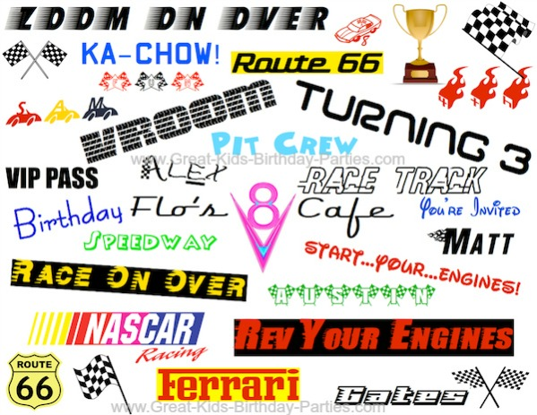 Car Font - Over 35 Car Fonts!  Make Cars invitations, party labels, banners, party favors, water bottle labels, stickers and much more!