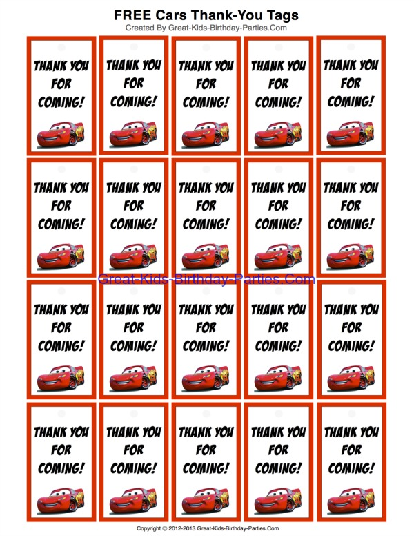 Free Car Thank-You Tags