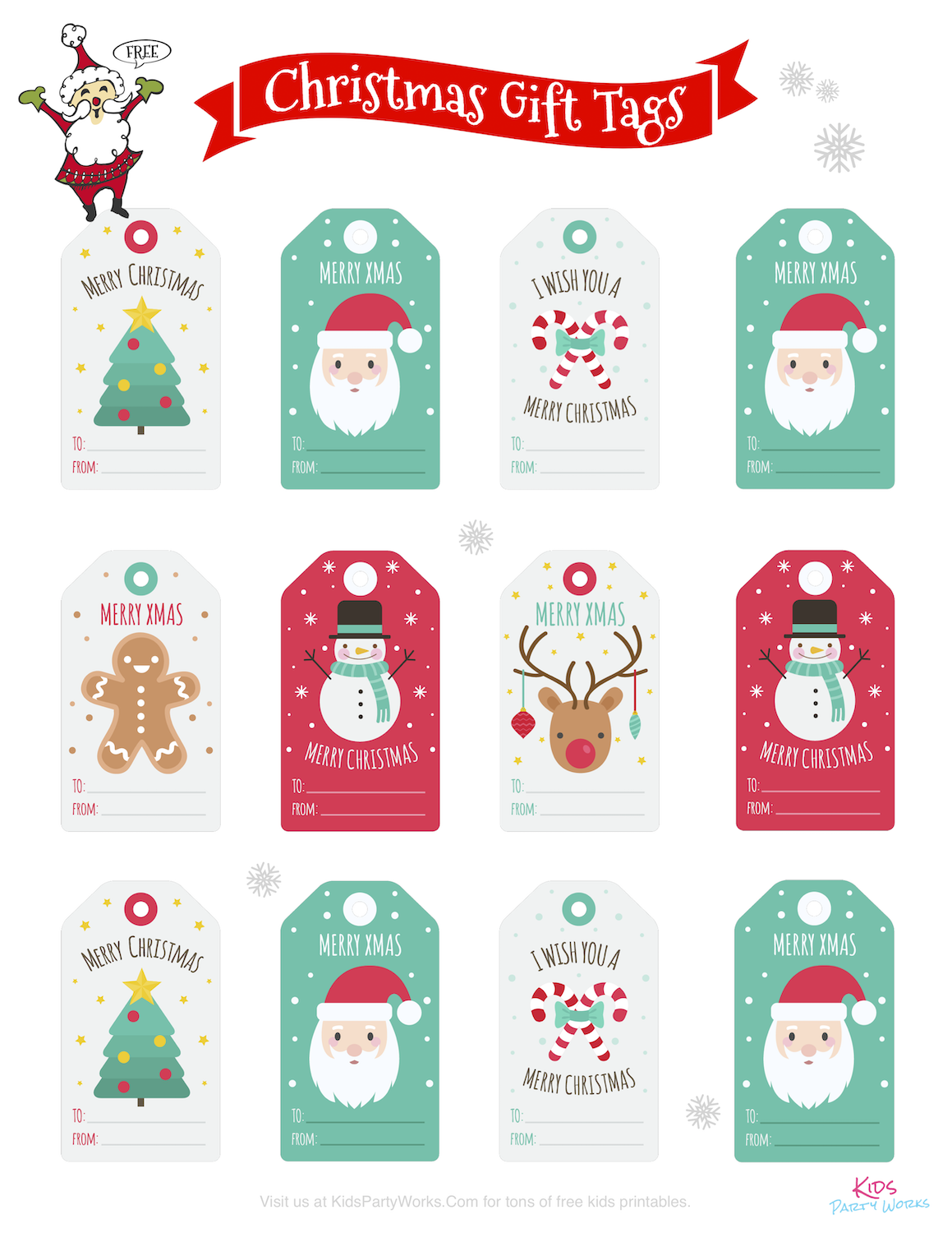 Free Printable Christmas Tags by KidsPartyWorks.Com