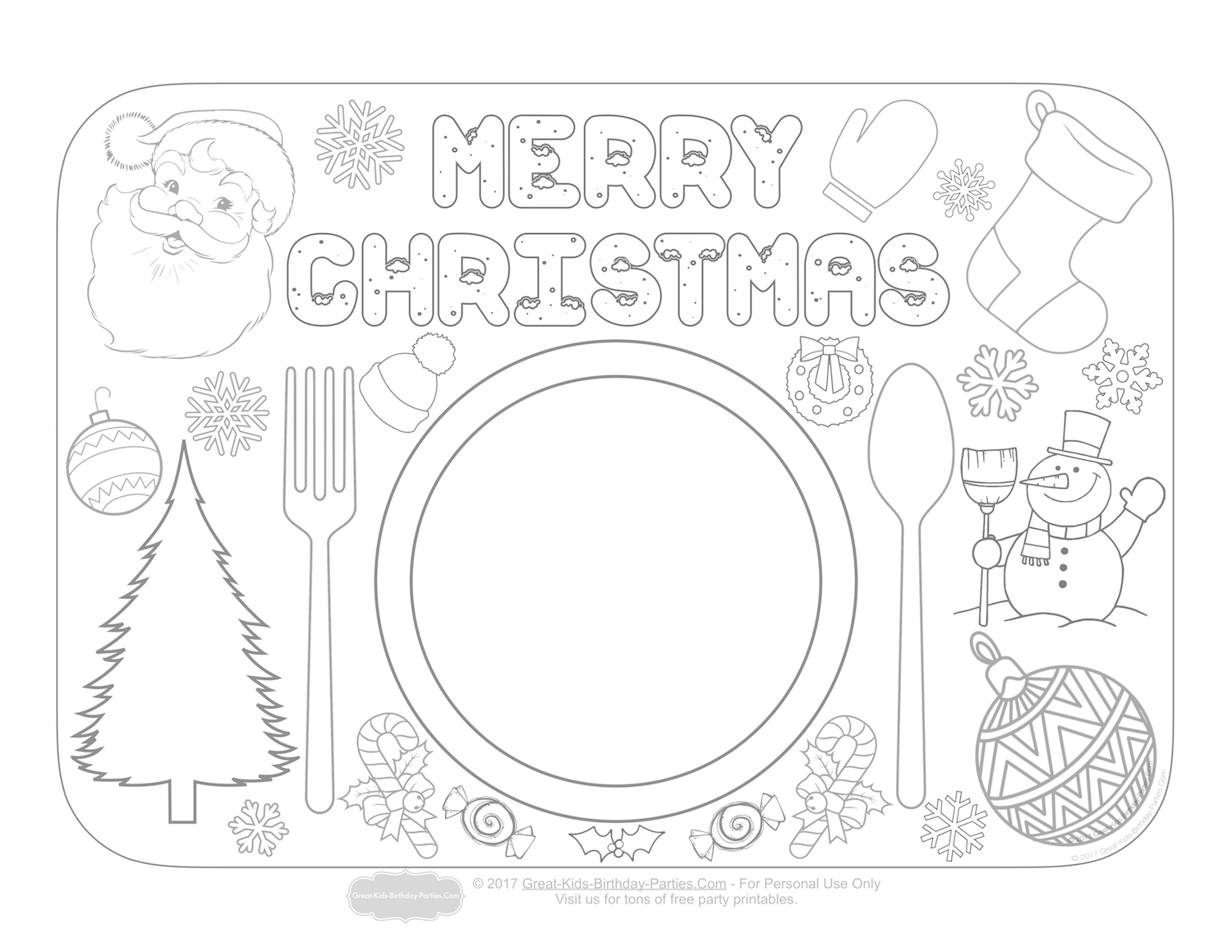 Print An Color Pictures Of Santa Christmas Tree Snowman Stocking Wreath And Candy Canes To Download Our Free Printable Right Click You Mouse
