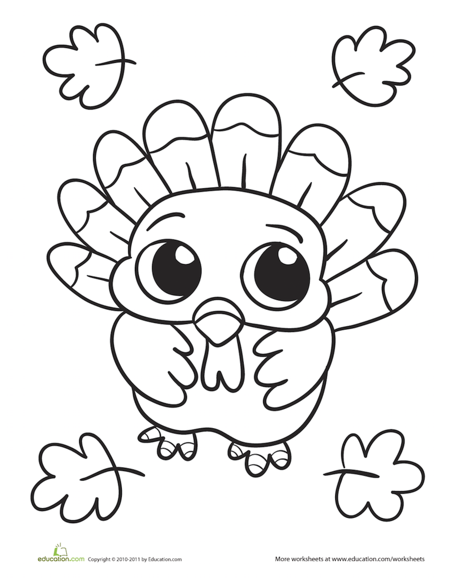 Cute turkey coloring page