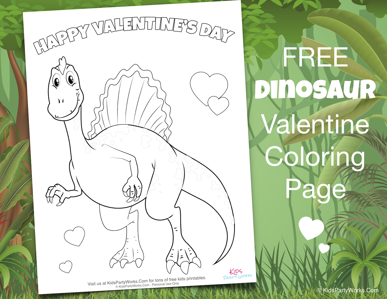 Free Valentine Dinosaur Coloring Page. Visit KidsPartyWorks.Com for tons of free kids printables.