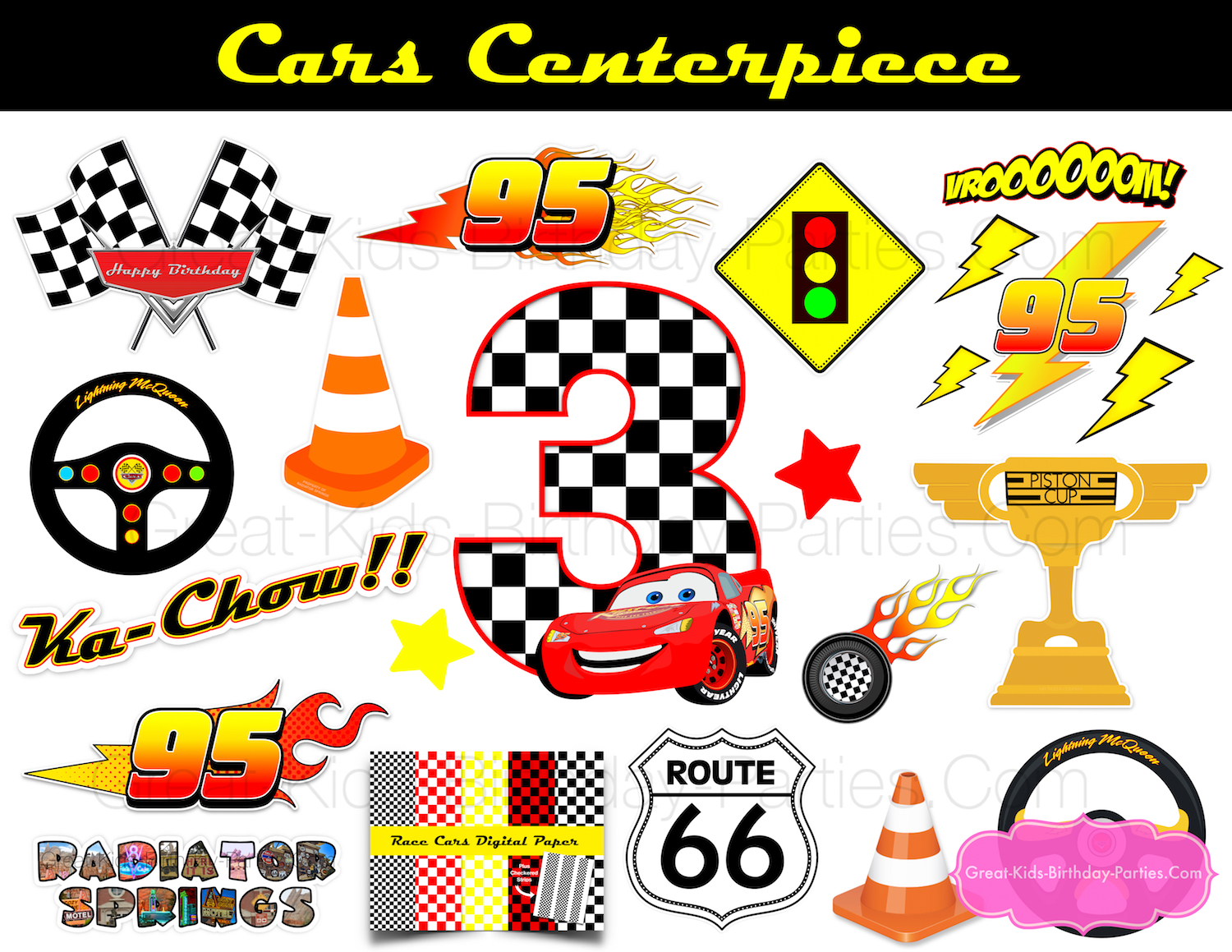 Plenty Of Images To Make One Centerpiece Or Different Centerpieces Get Details For This Lightning McQueen Party Printable At Our Etsy Shoppe