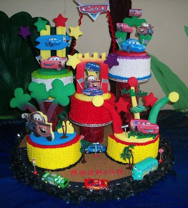 Outstanding Disney Cars Cake Personalised Birthday Cards Veneteletsinfo