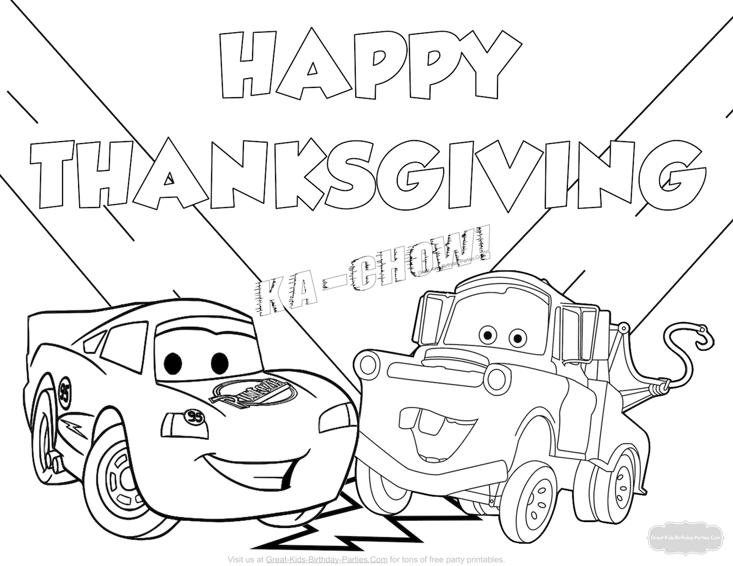 Disney Cars Thanksgiving coloring page