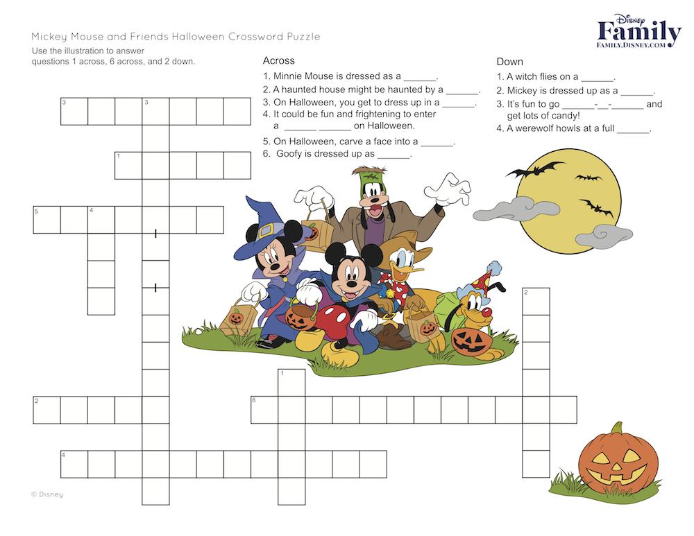 Mickey Halloween Crossword Puzzle
