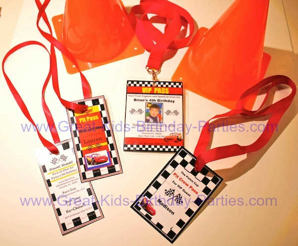 PIT Pass Lanyard Disney Cars Birthday Party Invitations