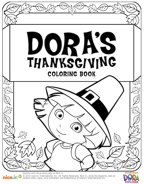 Dora Thanksgiving coloring book