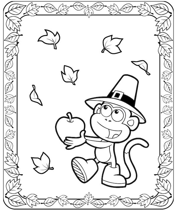 Dora Boots Thanksgiving Coloring Pages at KidsPartyWorks.Com