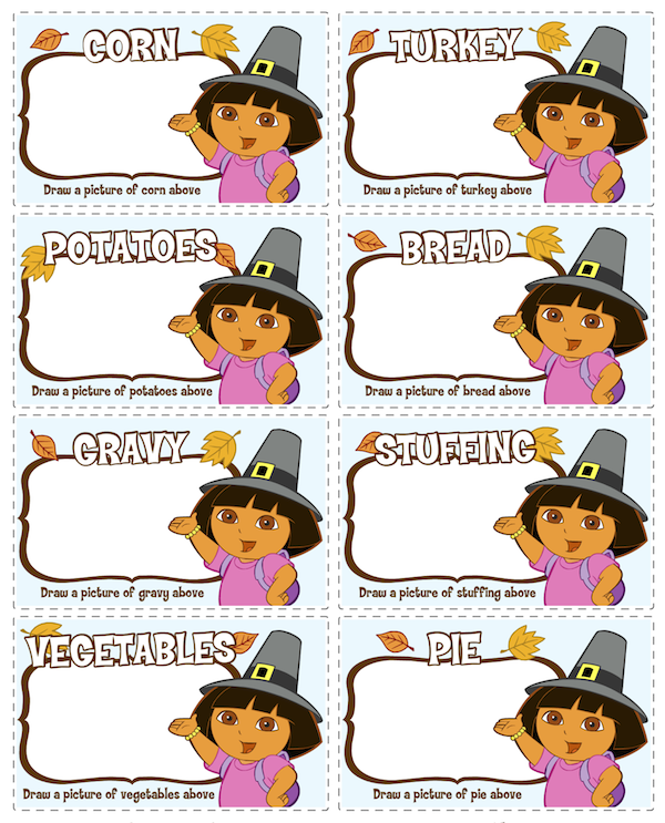 Dora Thanksgiving Printables at KidsPartyWorks.Com