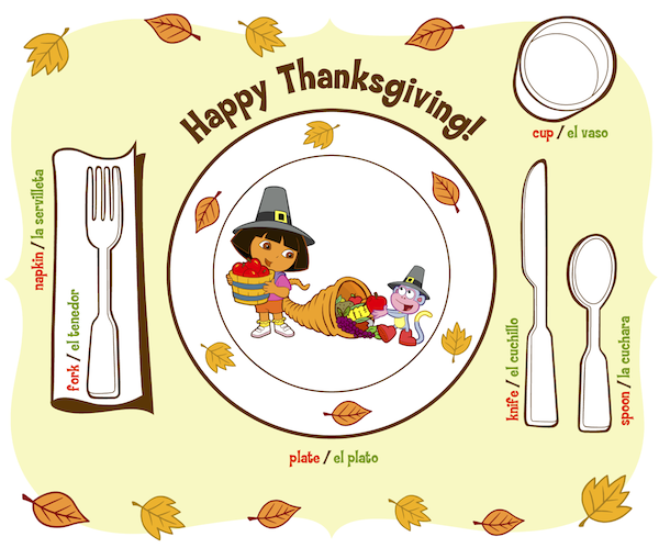 Dora printable Thanksgiving placement