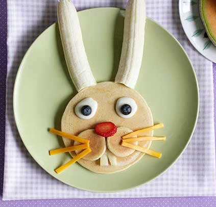 Easter Bunny Pancakes - Fun kids' Easter treat! Picture tutorial.