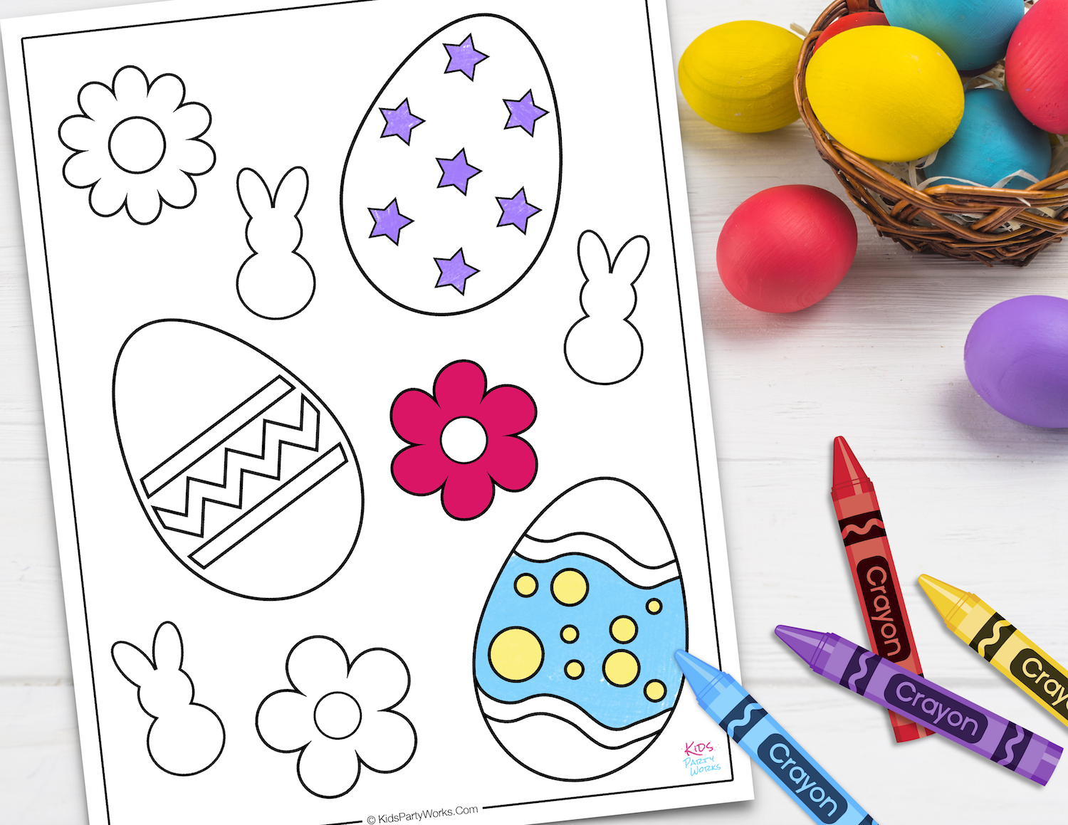 Free Easter Egg Coloring Page. KidsPartyWorks.Com