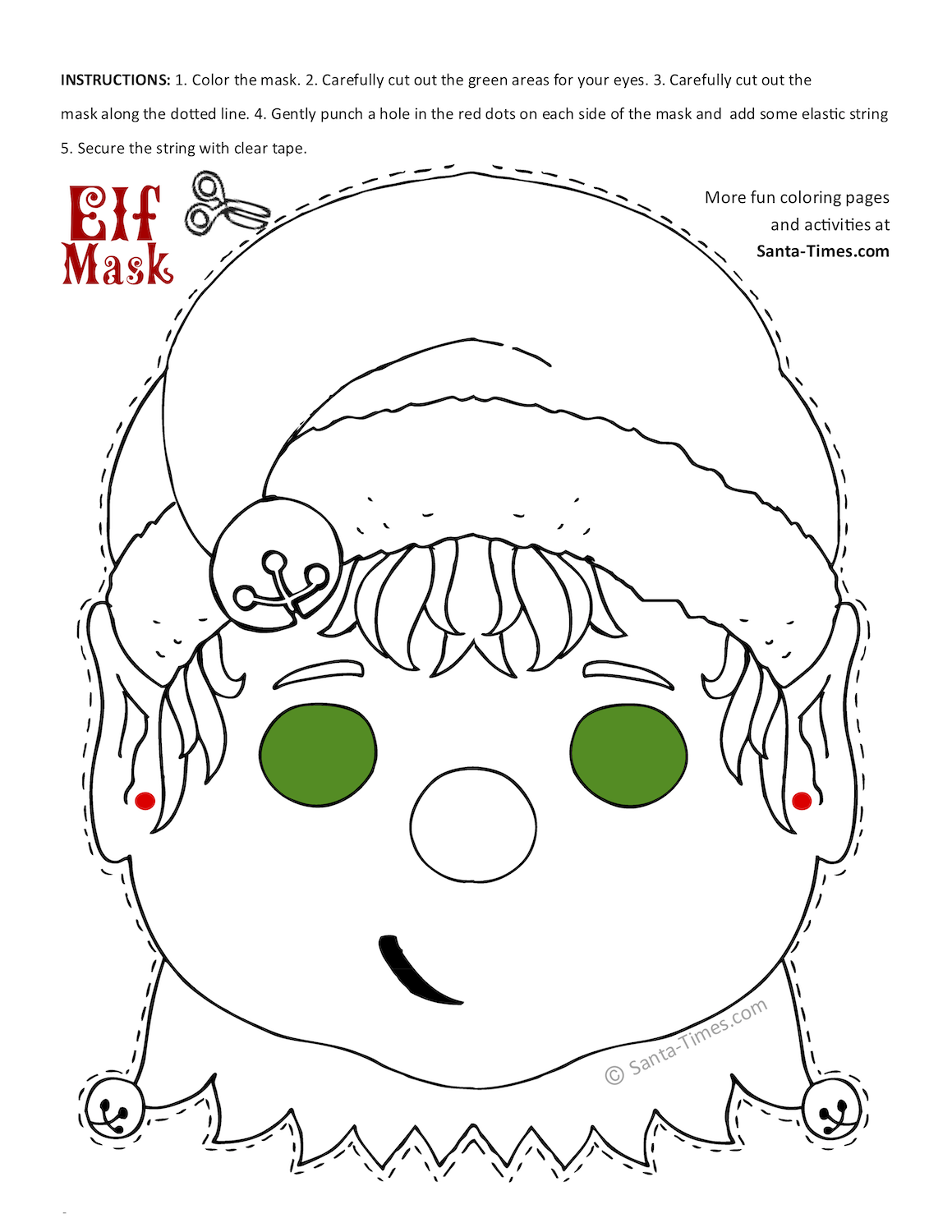 elf mask coloring page
