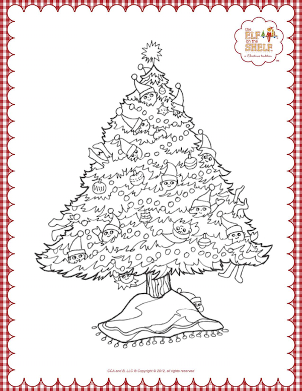 Elf on the Shelf Christmas Tree Coloring Pages.
